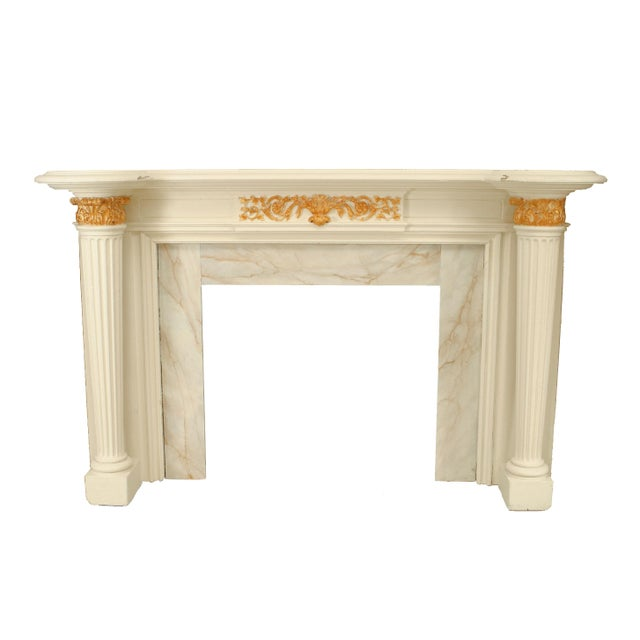 English Georgian style painted fireplace mantel with tapered and fluted column sides. (19/20th Cent.)