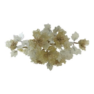 Hollywood Regency Gold Fleck and Milk Glass Floral Centerpiece For Sale
