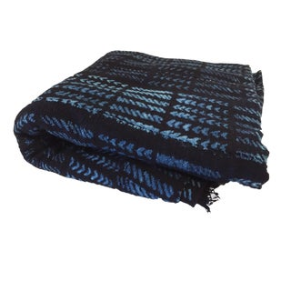 """African Mali Indigo and white Mud Cloth Textile 70"""" by 44"""""""