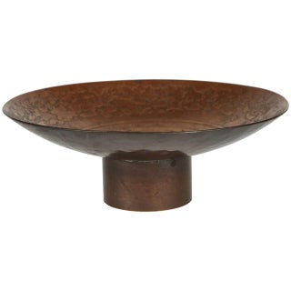 Small Incise Copper Footed Bowl For Sale
