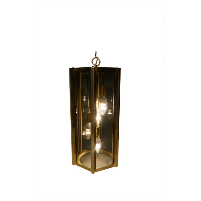 """1970's Brass and smoked glass """"swag"""" lamp by Fredrick Ramond. Comes with a 9' cord/chain that can be used to hand it by..."""