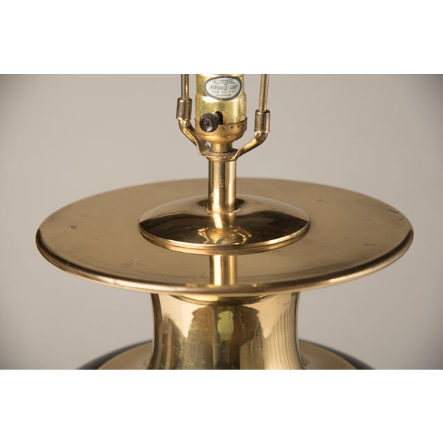 1980s 1980s Modern Chapman Black Ceramic and Brass Lamp For Sale - Image 5 of 7