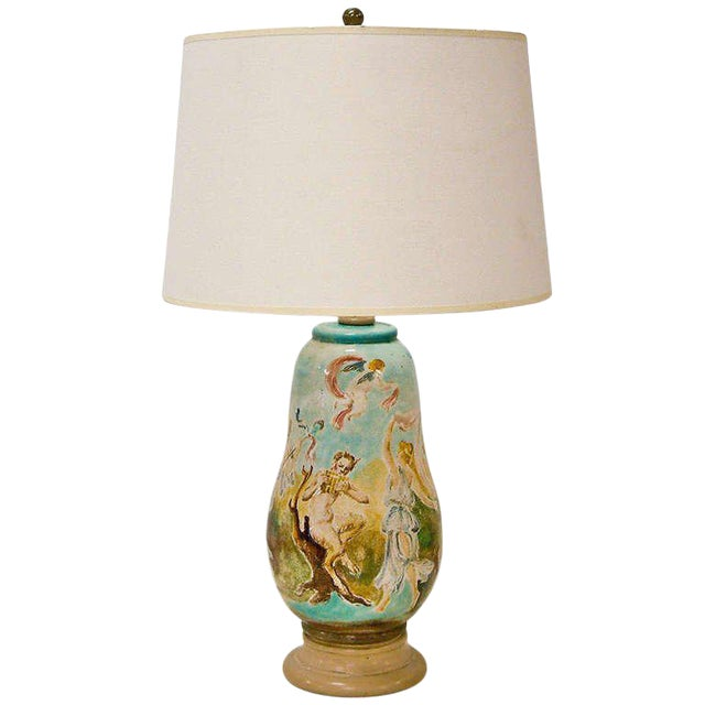 Circa 1940 Professor Eugenio Pattarino Ceramic Lamp Italy For Sale