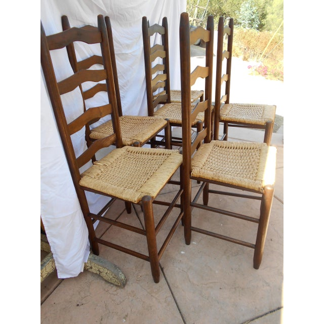 Vintage French Ladder Back Dining Chairs - Set of 6 - Image 5 of 9