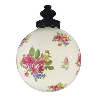 Mid-Century Floral Milk Glass Globe Pendant Light For Sale