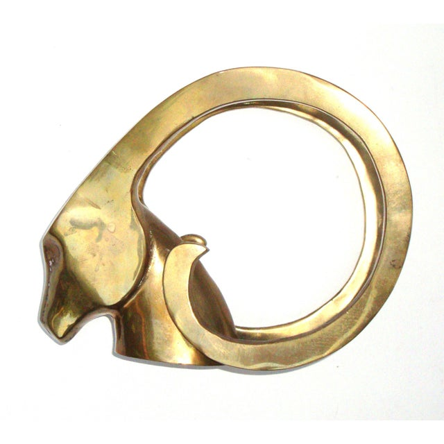 Hollywood Regency Brass Antelope Horns Sculpture - Image 4 of 8