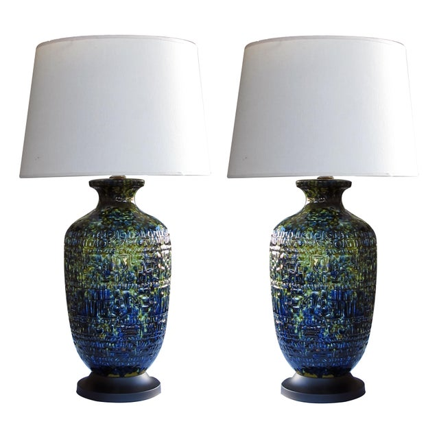 Blue A Massive and Richly-Colored Pair of American 1960's Ceramic Lamps With Blue, Green and Yellow Drip Glaze For Sale - Image 8 of 8