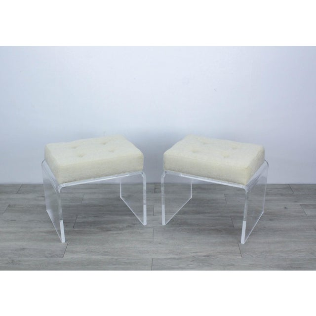 Pair of Cream Waterfall Lucite & Chenille Benches For Sale - Image 4 of 8