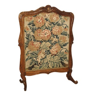 Period Louis XV Walnut Wood and Tapestry Firescreen From France For Sale