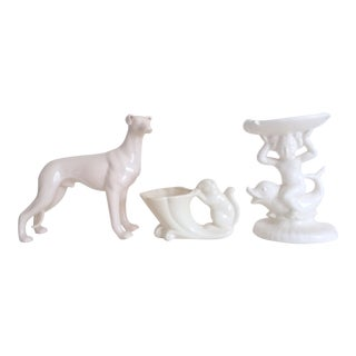 Vintage 1930's Art Deco White Art Pottery Figurines - Set of 3 For Sale