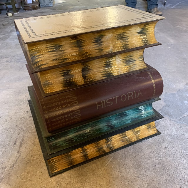 1950s 1950s Italian Tole Metal Library Book Stack Table For Sale - Image 5 of 13