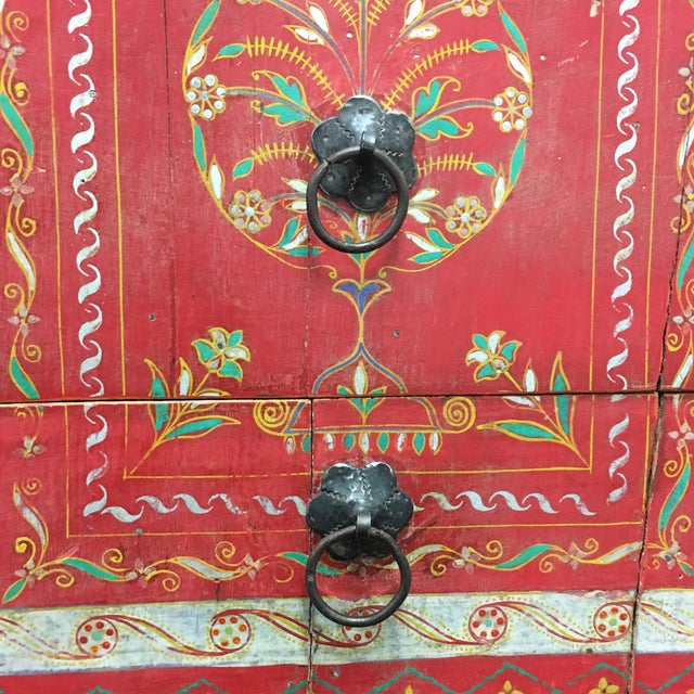 Vintage Hand Painted Moroccan Armoire For Sale - Image 9 of 11