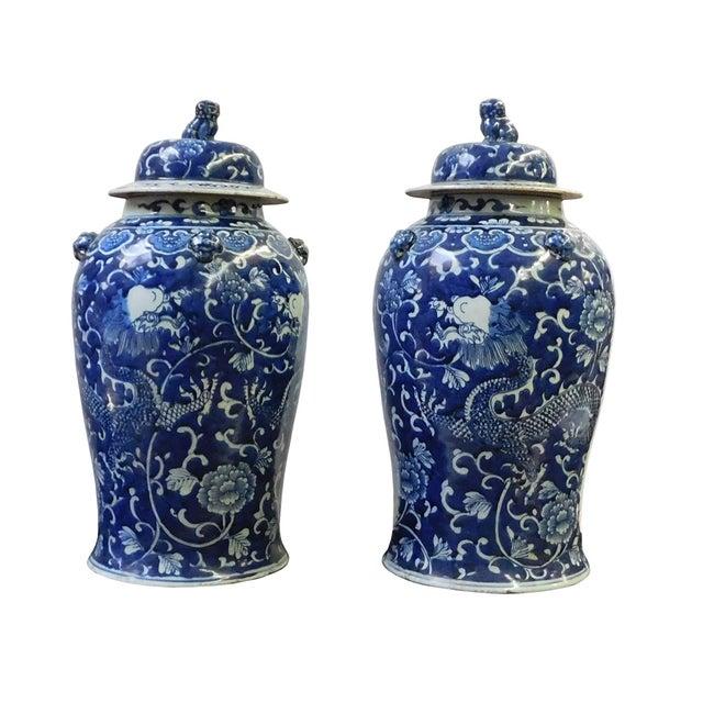 Chinese Blue & White Dragon Porcelain Jars - Pair - Image 2 of 6