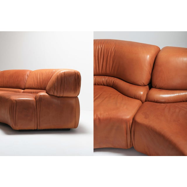 Leather Sectional Cognac Leather Sofa 'Cosmos' by De Sede, Switzerland For Sale - Image 7 of 10