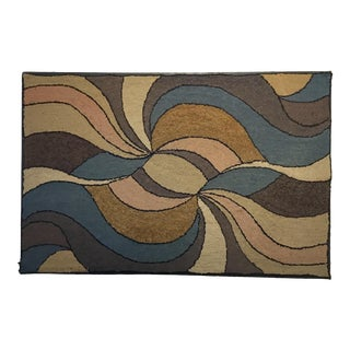 Antique Hooked Rug Mounted to Hang For Sale