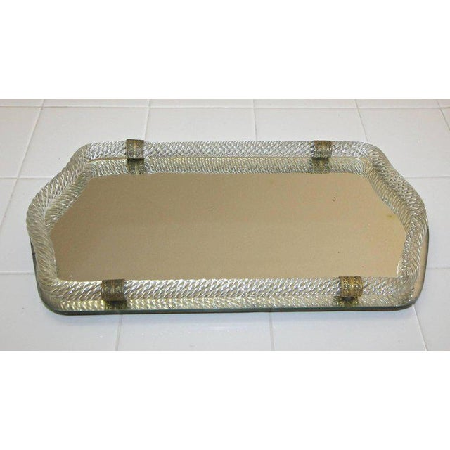 Murano Italian Venini style mirrored glass vanity tray surmounted by thick twisted mouth blown glass with decorative...