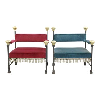 Pair of 1940s Wrough Iron Art Deco Armchairs Newly Upholstered in Velvet