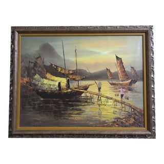 Vietnamese /Asian Ocean View Framed Oil Painting on Canvas For Sale