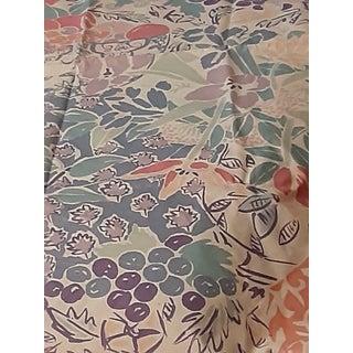 P. Kaufman.1990s Vat Colored Chromatic Pastel Palm Beach Print Fabric For Sale
