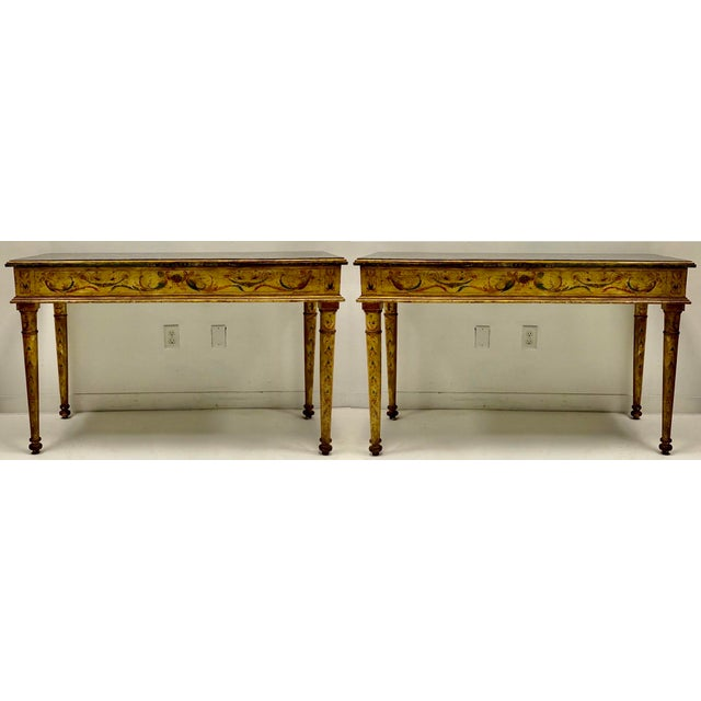 Late 20th Century Pair of French Style Painted Marble Top Console Tables For Sale - Image 5 of 6