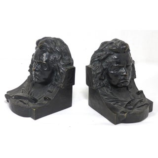 Antique Austrian Bronze Beethoven Bookends - a Pair Preview