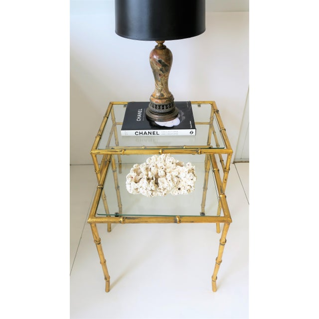 Italian Gold Gilt Bamboo and Glass Nesting or End Tables, Set of 2 For Sale - Image 11 of 12