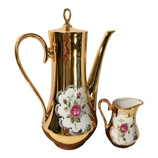 Antique Bavarian Gold Plated Tea Pot and Lidded Creamer For Sale