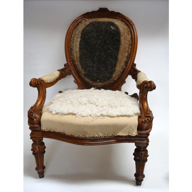Antique Walnut Louis XVI Fauteuil and Footstool For Sale - Image 5 of 11