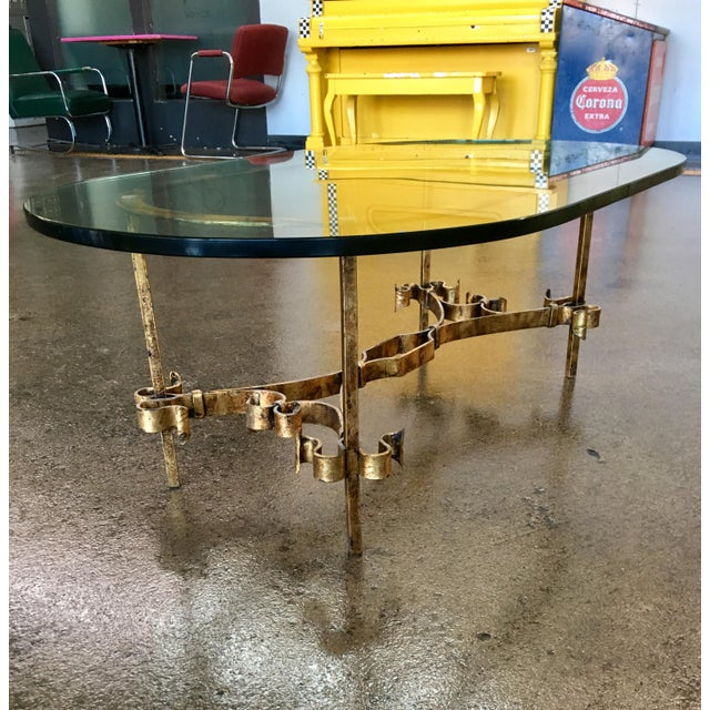 1950s Spanish Brutalist Gilded Wrought Iron & Glass Coffee Table For Sale - Image 12 of 13