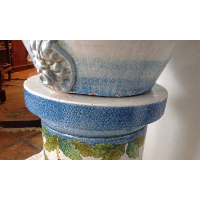 """Pair"" of Massive Glazed Terra Cotta Urns on Pedestals For Sale - Image 12 of 13"