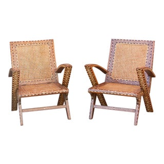 Mid Century Anglo Indian Inlay Cane Chairs - a Pair For Sale
