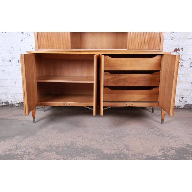 Brown Sligh Mid-Century Modern Walnut Sideboard Credenza With Bookcase Hutch For Sale - Image 8 of 12