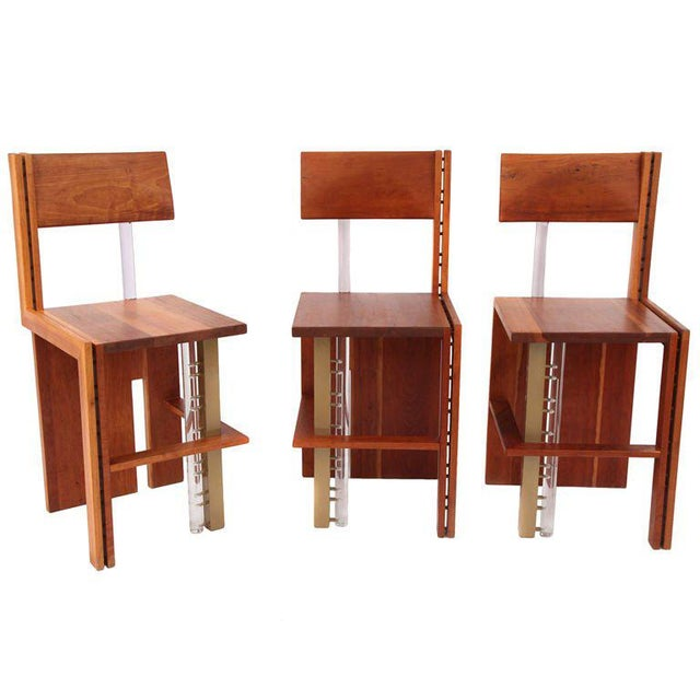 Bronze Three Cherry Bronze and Lucite Barstools For Sale - Image 7 of 7
