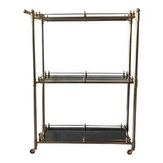 Gabby Home Lloyd Bar Cart in Brushed Metal With Black Antiqued Mirror Shelves For Sale