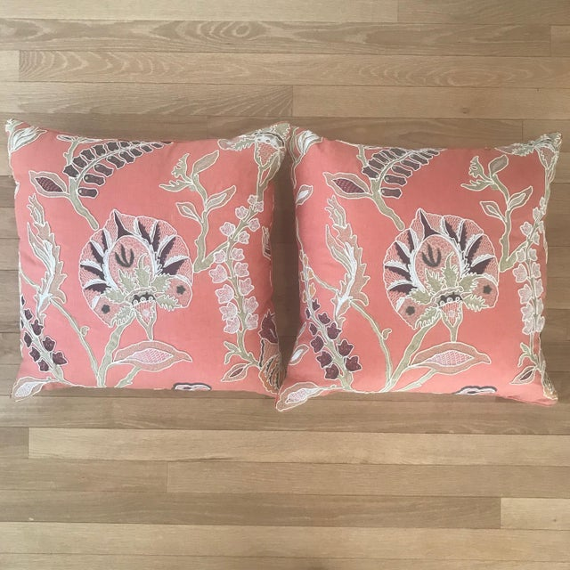 Custom Embroidered Pillows With Down Fill - A Pair - Image 7 of 7