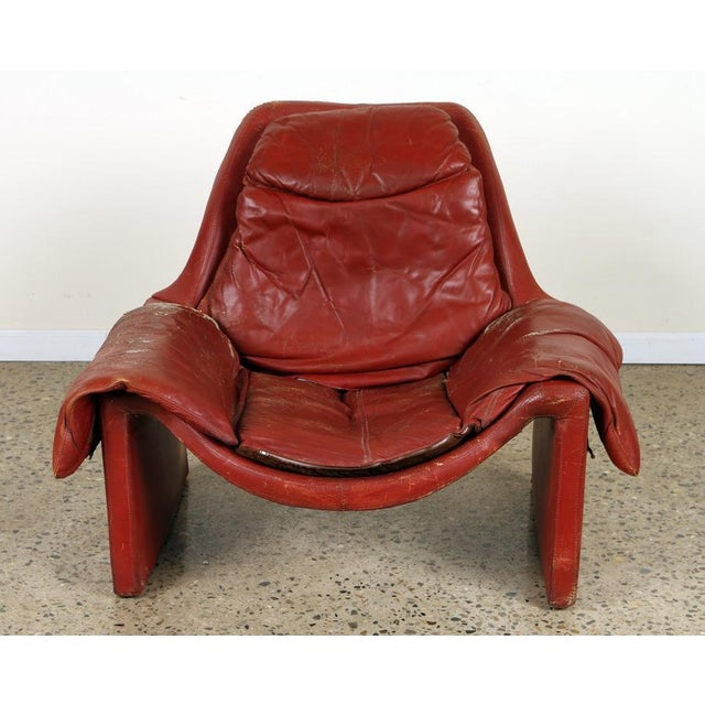 Leather Vintage Vittorio Introini for Proposals Distressed Rich Red P60 Leather Lounge Chair and Stool For Sale - Image 7 of 8