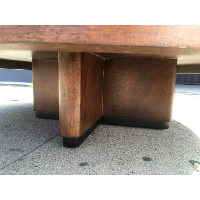 1950s Art Deco Architectural Round Mahogany Coffee Table For Sale - Image 9 of 11