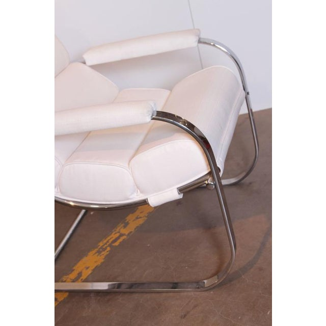Metal Machine Age Art Deco Gilbert Rohde for Troy Sunshade Flat Band Springer Chair For Sale - Image 7 of 11
