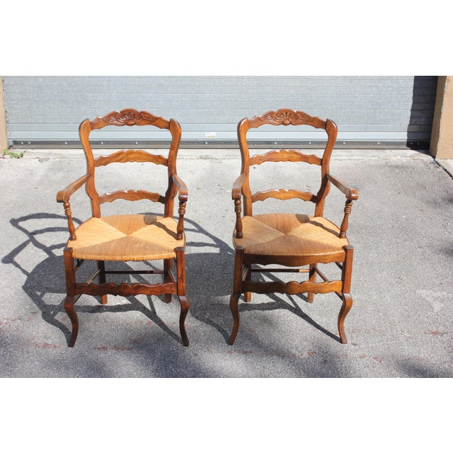 1910s Early 20th Century French Country Rush Seat Solid Walnut Berger Chairs- a Pair For Sale - Image 5 of 13
