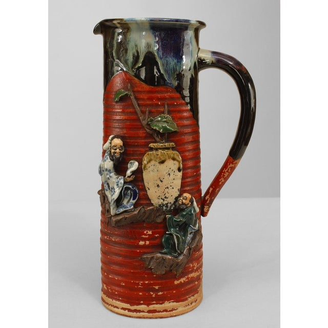 Asian Japanese Meiji Period Red and Black Glazed Terra Cotta Pitcher For Sale In New York - Image 6 of 6