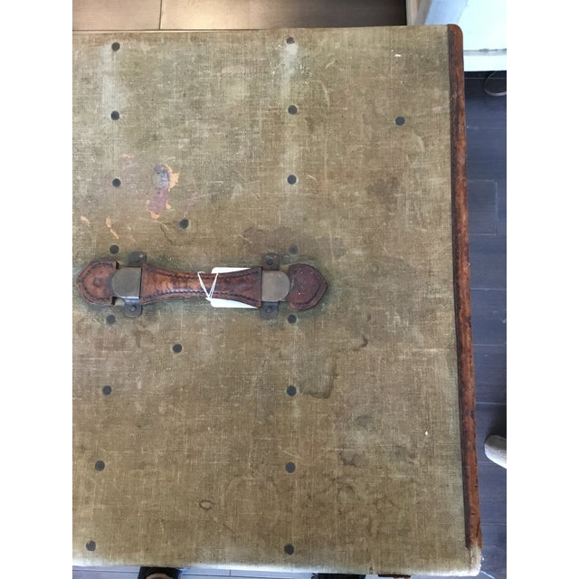 Animal Skin 20th Century Rustic Leather and Canvas Trunk For Sale - Image 7 of 13