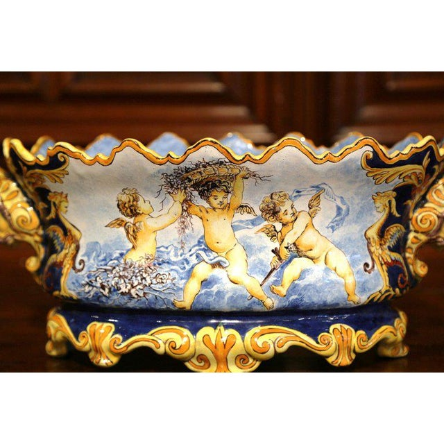 Mid 19th Century Mid-19th Century Italian Painted Ceramic Oval Planter With Crest and Cherubs For Sale - Image 5 of 12