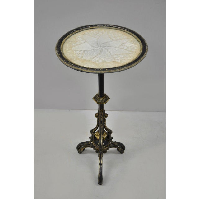 19th Century Antique Cast Iron French Victorian Pedestal Fern Stand Table For Sale - Image 9 of 10