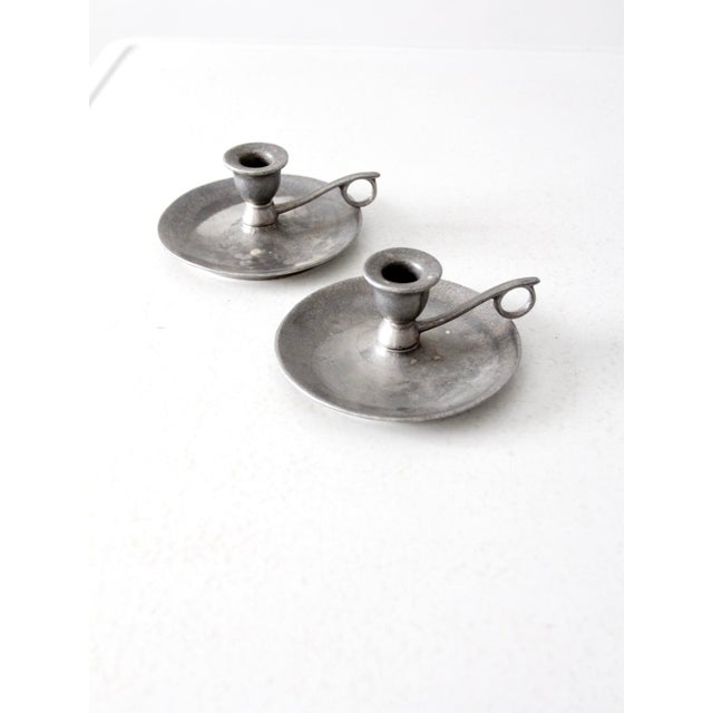 Vintage Carson Pewter Style Candlestick Holders - a Pair For Sale - Image 4 of 9