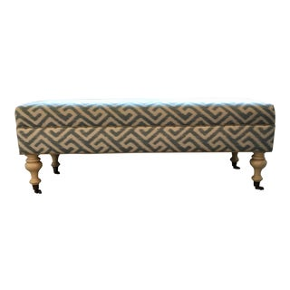 Hollywood Regency Blue Fabric Upholstered Bench With Turned Legs For Sale