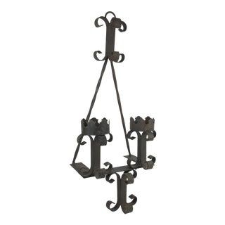 1970s Gothic Spanish Style Wrought Iron Candle Sconce For Sale