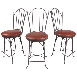 Set of Three Modern Swivel Counter Stools For Sale