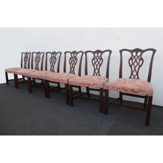 Vintage Chinese Chippendale Pink Dining Chairs - Set of 8 Preview