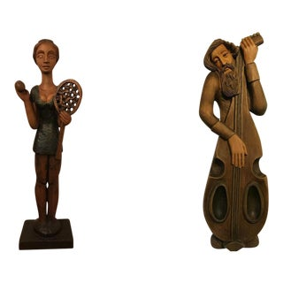 Vintage Hand Carved Tall Wooden Statues - a Pair