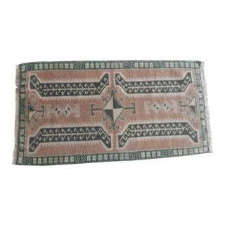 Turkish Antique Small Handmade Traditional Door Mat Small Rug 1′8″ × 3′1″ For Sale